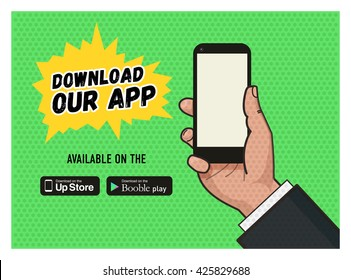 Download page of the mobile messaging app. Hand holding a mobile phone against green background. Pop art illustration in flat format. Old style of a texture. download buttons.
