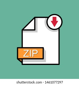 Download ZIP icon.Archive file format. Downloading document concept. Flat design
