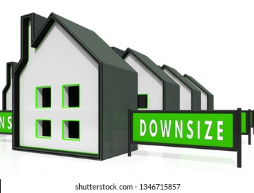 Downsize Home Icons Means Downsizing Property Due To Retirement Or Budget. Find A Tiny House Or Apartment - 3d Illustration