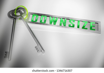 Downsize Home Keys Means Downsizing Property Due To Retirement Or Budget. Find A Tiny House Or Apartment - 3d Illustration
