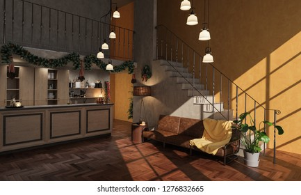 Downstairs Kitchen with Christmas Embellishments 3D Rendering