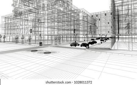 Downtown New York, 3d illustration, road and buildings, skyscrapers and cars