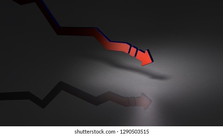 A downward arrow that gradually descends. Dark background. It implies the decline of the economy. 3D illustration