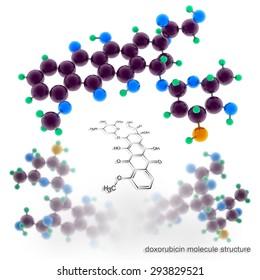 doxorubicin molecule structure. Three dimensional model render