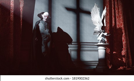 Dracula with a cloak  standing near a devil statue and drape on a moonlight and shadows in a castle - concept art - 3D rendering