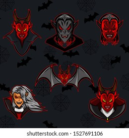 The dracula vampire face and bat vampire logo mascot icon set on Halloween festival with black background and bats pattern
