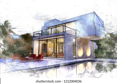 Draft of a modern white villa with a pool