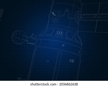 drafting silhouette of spaceship and its parts on blue graph paper 3d render