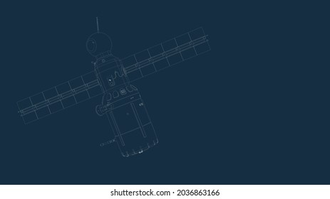 drafting silhouette of a spaceship and its parts on a blue background 3d render