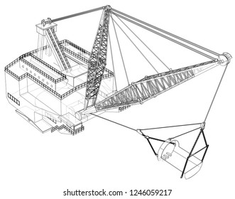 Dragline walking excavator. 3d illustration. Wire-frame style