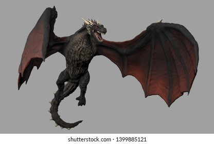 Dragon in air gray background isolated 3d illustration