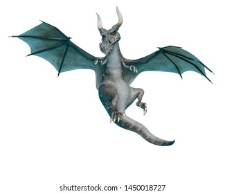 dragon cartoon hanting. This gray monster in clipping path is very useful for graphic design creations, 3d illustration