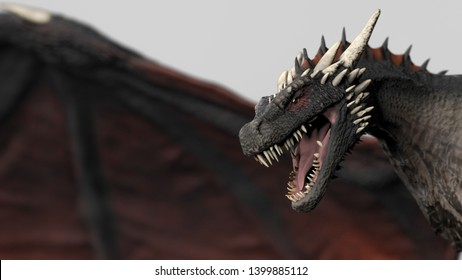 Dragon close up hed wiev gray background isolated 3d illustration