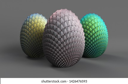 dragon eggs 3d render on a gray background, 3 eggs of unborn dragons, grayish, silver-gold, azure-green