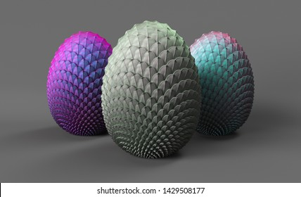 dragon eggs 3d render on a gray background, 3 eggs of unborn dragons