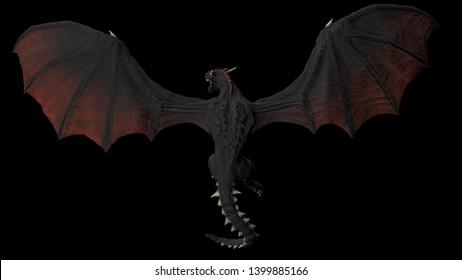 Dragon flying hight aove view  black background isolated 3d illustration