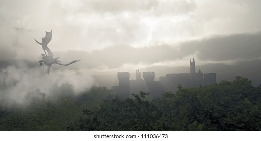 Dragon flying over a castle in a misty fantasy forest, 3d digitally rendered illustration