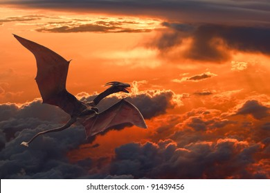 a dragon flying over orange sunset clouds