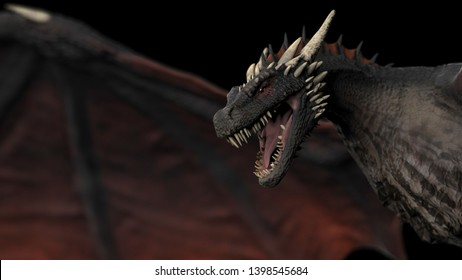 Dragon flying veryclose up view black background isolated 3d illustration