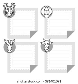 Dragon, goat, horse, snake. Calendar template eastern horoscope and note papers collection. Chinese zodiac animal icons on a notepad sheet.