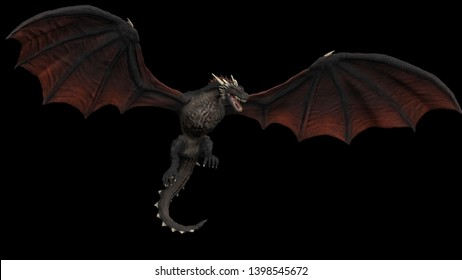 Dragon hanging in air and posing with wings open black background isolated 3d illustration