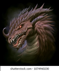 Dragon head on the black background. Digital painting.