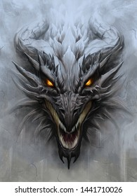 Dragon head on the gray stone background. Digital painting.