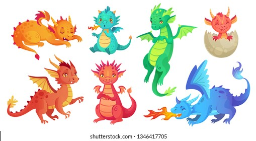 Dragon kids. Fantasy baby dragons, funny fairytale reptile and medieval legends fire breathing serpent. Fairy tale magic dinosaur child, cute monster babies. Cartoon isolated  icons set