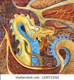 dragon in Klimt's style