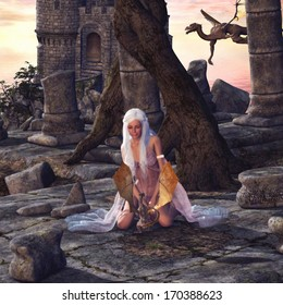 Dragon Lady - A beautiful woman playing with a little dragon. A fantasy scene with dragons, castle and ruins.
