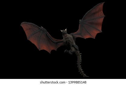 Dragon is landing and approaching ground undershoot black background isolated 3d illustration