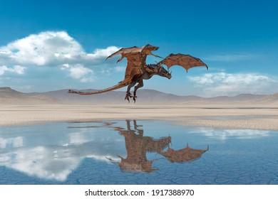 dragon is landing on desert after rain, 3d illustration
