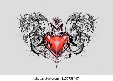 Dragon lizzard, Tattoo sketch with red heart, handmade drawing over grey background