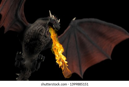 Dragon looking mean and powerful with flames black background isolated 3d illustration