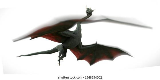 dragon, mythical flying serpent isolated with motion blur on white background (3d fantasy rendering)