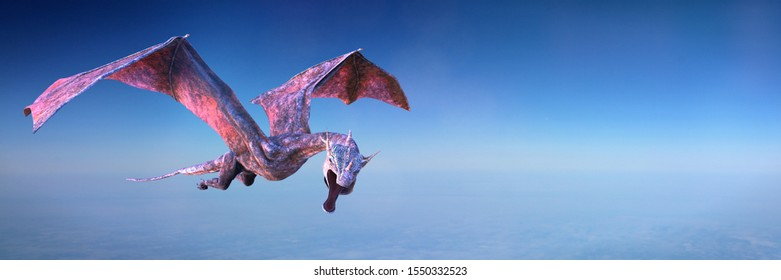 dragon,  mythological animal flying through air (3d fantasy rendering banner)