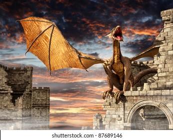 Dragon on castle in fog