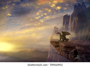 Dragon on the rock in the sunset. 3D rendering
