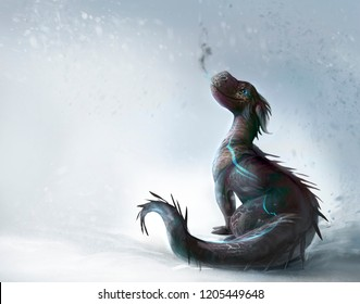 Dragon on the snow illustration