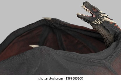 Dragon rising up in air gray background isolated 3d illustration