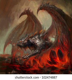 dragon rising from the magma