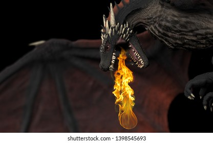 Dragon side and close up view with fire flame throwing black background isolated 3d illustration