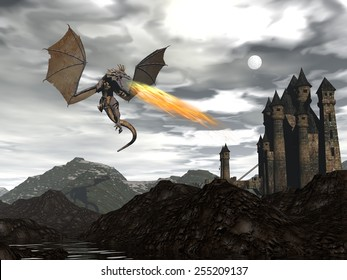 Dragon spitting fire upon old castle by night - 3D render
