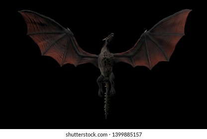 Dragon viewed from ground flying over camera black background isolated 3d illustration