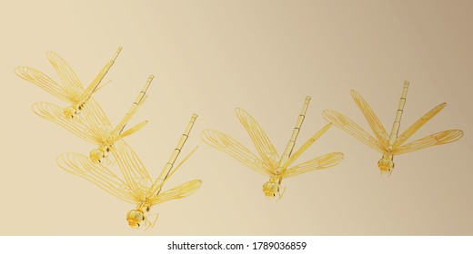 Dragonflies. 3d rendered on toned background
