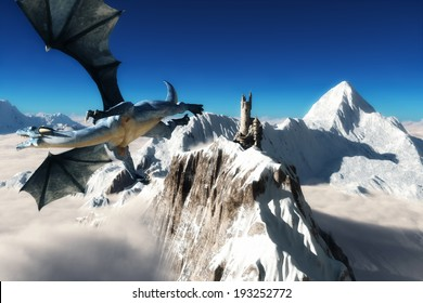 Dragons tower, Winged dragon flying over majestic mountains with a tower in the distance.