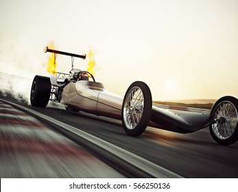 Dragster racing down the track with burnout. 3d rendering with room for text or copy space.