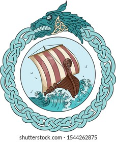 Drakkar sailing on the stormy sea in the frame of the Scandinavian wreath with a dragon's head, isolated on white, raster illustration