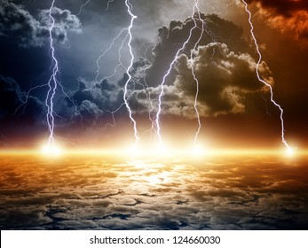 Dramatic apocalyptic background, end of world, bright lightnings, armageddon.