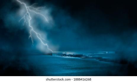 Dramatic background of the night sky, thunderstorm, lightning. Smoke, fog, smog against the background of the city landscape. Natural night landscape, night sky, wet asphalt, puddles. 3D illustration